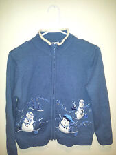 Vintage Tacky Ugly Christmas Sweater - Medium Blue Evil Snowmen w/ Measurements