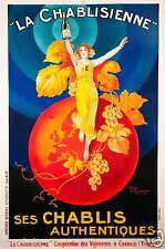 French Vintage Champagne Advert Old Art Painting Deco 80cm x 50cm Australia