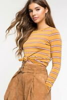 NEW Chocolate Women's Yellow Striped Tie Front Knot Crop Top (Choose Size)