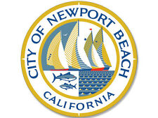 4x4 inch ROUND City of NEWPORT BEACH Seal Sticker - decal bumper orange ca logo