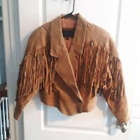 Laurici Vintage 80's Leather Suede Bomber Jacket with Fringe Ladies Size S