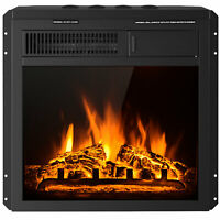 """18"""" Electric Fireplace Insert Freestanding & Recessed Heater Log Flame Remote"""