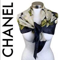 "CHANEL Women's Camellia Flower Print White Green Gray Silk Scarf 34"" X 34"""