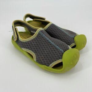 Crocs Unisex Kids Green Gray Comfort Swiftwater Dual Comfort Sandal Shoes Sz 13