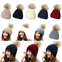 WOMEN LADIES WARM FUR KNITTED WINTER HAT SKI POM BOBBLE BAGGY CROCHET BEANIE CAP