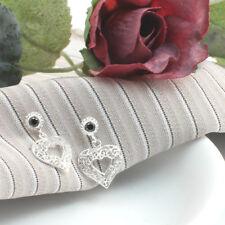 Handmade Filigree Onyx Gem With Dangling Heart Earrings in 925 Sterling Silver