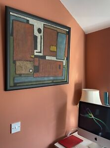 Large Abstract 1950's Oil Painting On Board 74x62cm Framed