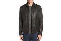 Cole Haan Washed Leather Trucker Jacket Black Size Large - Black 42-44