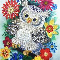 Flower Owl 5D Special Shaped Diamond Painting Embroidery Cross Stitch Kit DIY