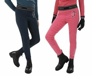 Junior Reitleggings Leyla m. Silikon Bein-Besatz dunkelblau und rosa Gr. 104-152