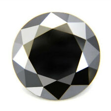 1.53 ct NATURAL LOOSE DIAMOND JET BLACK OPAQUE ROUND BRILLIANT CUT JEWEL USE n r