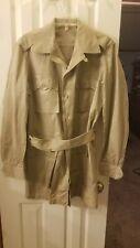 Rare Air Force Usaf Korean War Mens Tan Cotton Tropical Jacket 40 Medium Xlong