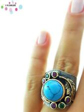 Turkish Handmade 925 Sterling Silver Jewelry Turquoise Adjustable Ring NEW R1682