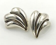 Modernist Scallop Post Earrings, Mexico Vintage .925 Sterling Silver 2-Tone
