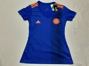 NEW Youth Girls Adidas Colombia Blue Soccer Futbol Jersey Climalite Size Large
