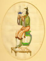 """Young Musician Watercolour XIX ° Th on """" Pith Rice Paper Watercolor China c1880"""