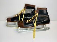 Mens Ice Skates Black Brown Leather Size 11 Hockey Figure Winter Boot Sport Ski