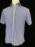 EUC Bugatchi Uomo Shaped Fit Medium Cotton S/S Button Down Shirt Check Plaid