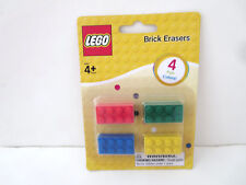 Four Pack Lego 2 X 4 Brick Erasers Red, Green, Blue & Yellow