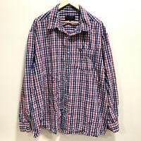 Jack Stone Mens Longsleeve Shirt Size 5XL Blue Red & White Plaid Check Pattern