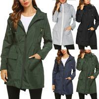 Women Solid Rain Outdoor Jackets Waterproof Hooded Raincoat Windproof Coat Tops