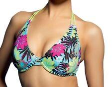 Freya Bikini Top Moonflower Green Blue Pink Underwired Halter Neck Bra 9916 36 C