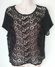 SIZE 14 / SIZE M WOMEN'S BLACK SHORT SLEEVE LACE SHEER 'COTTON ON' TOP