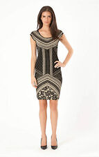 Hale Bob Gold And Black Knit Sheath Dress w Cap Sleeve XS NWT 3ETL6272