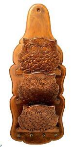 """Vintage Wood 3 Pocket Owl Letter Mail Card Holder & Key Holder 19.5"""" X 8"""""""