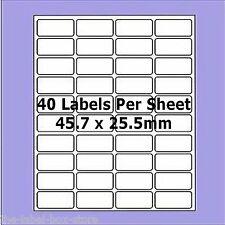 20 Sheets Labels ~ 40 Labels Per A4 Sheet ~ L7654 Compatable ~  45.7mm x 25.5mm