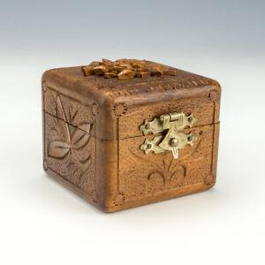 Antique Carved Wood Grindelwald - Pocket Travel Inkwell Ink Bottle