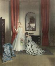 HER FIRST BALL DRESS L Campbell Taylor ENGLISH Vintage Lithograph 40's #587