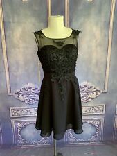 NWT Grace Karin Black Pearl Bead Applique Cocktail Dress 12 Fit & Flare Padded