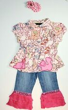 Oilily/Cachcach Denim Pant outfit Baby Girl Toddler Clothes Lot Sz 2T