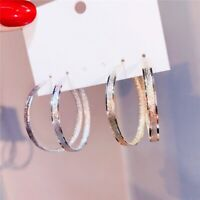 18K White Gold & Yellow Gold Filled Fashion Frosted Popular Hoop Earrings