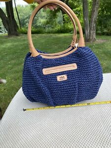 Brighton-Vera collectionMariner Straw Hobo Bag Navy/Natural Tan Leather $240 NWT