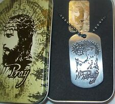 """Scripture Necklace-Philippians 4:13 Dog Tag 30"""" Ball Chain Christ-Pray -NEW"""