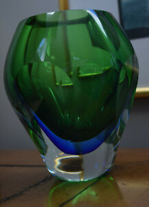 Midcentury Murano Green Blue Vase Sommerso Faceted EUC
