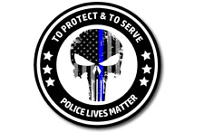 "Punisher Police Decal Sticker Police Lives Matter American Flag 4"" Thin Blue"