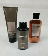 Bath & Body Works TEAKWOOD Mens Collection Body Spray, Wash, Cream Lotion Set