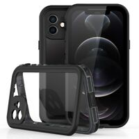 For iPhone 12 Pro Max Waterproof Case Clear Cover With Built-in Screen Protector