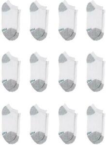Hanes Boys' 12-Pack EZ Sort Comfort Toe Seam No Show Socks White M