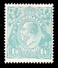Australia 1920 King George V 1/4d Bluish Green Single Crown Watermark MH