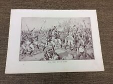 antique Print - battle of Atbara - after the battle scene - brothers in arms -