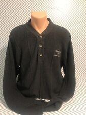Hard Rock Cafe Men's Las Vegas Rib Knit 3 Button Collar Sweater Shirt Charcoal L