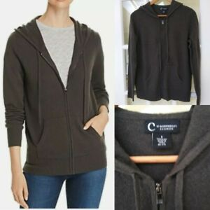 C By Bloomingdale's Cashmere Zip Hoodie With Pockets Army NWT Size S $198