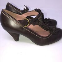Women Shoe Anthro Miss Albright Rensselaer Mary Jane Leather Brown Size 38/8