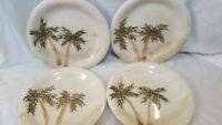 "Gibson Designs MOJAVE PALM Dinner Plates 10 3/8 "" Palm Trees Set of 4 Four"