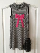 NWT Little Mass 12 Black White Stripe Pink Bow Applique Tulle Ruffle Trim Dress
