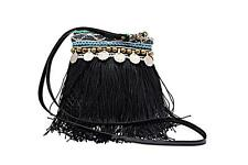 "Elliot Mann Black/Multi Fishnet Bag w/Removable Leather Strap+Bead Trim - 8""x 8"""